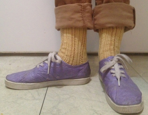 When I left the house in my butter yellow socks & purple tyvek shoes I felt pretty darn good. Then I got home & my boyfriend told me I looked like an Easter egg.