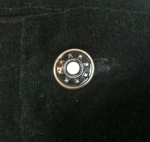 Smooshed button detail. Now that I've laundered these jeans a few times the button is starting to come out from the fabric. Big sad face.