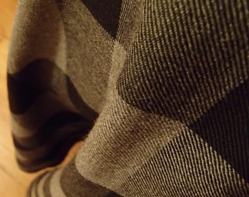 Detail of gray gingham skirt.